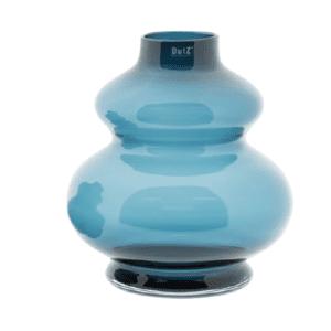 Glas Vase DUTZ Windlicht SKRZYSZOW mundgeblasen blau H35 D32 cm