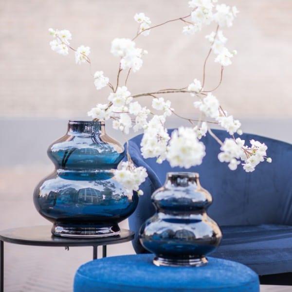 Glas Vase DUTZ Windlicht SKRZYSZOW mundgeblasen Blau H25 D23 cm