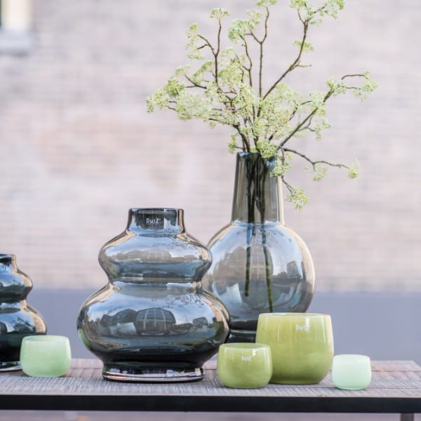 Glas Vase DUTZ Windlicht SKRZYSZOW Smoke Rauchgrau H35 D32 cm