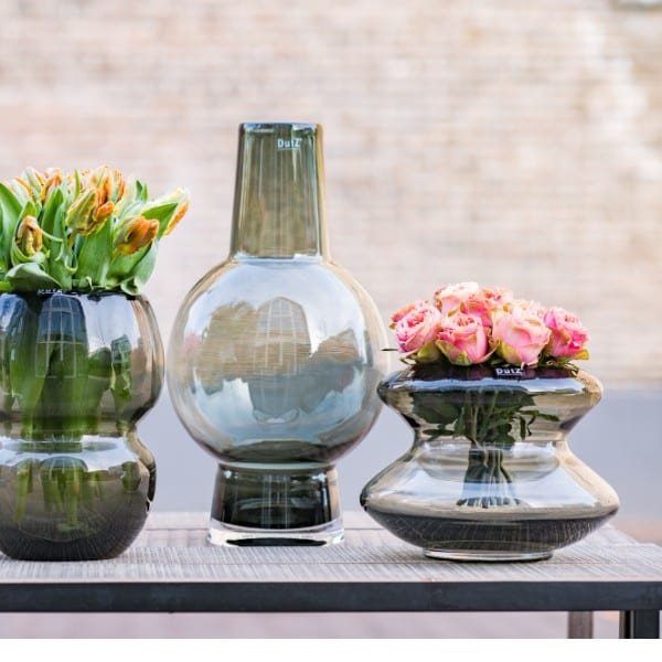 Glas Vase DUTZ Windlicht SKRZYSZOW Smoke Rauchgrau H25 D23 cm