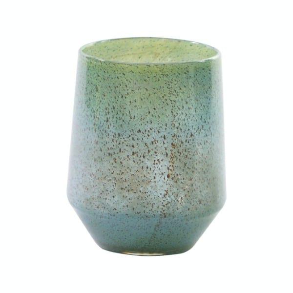 Glas Vase DUTZ Windlicht NITA Tropical Blue Türkis H30 D24 cm