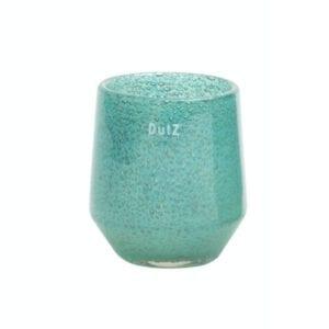 Glas Vase DUTZ Windlicht NITA Türkis H15 D12 cm