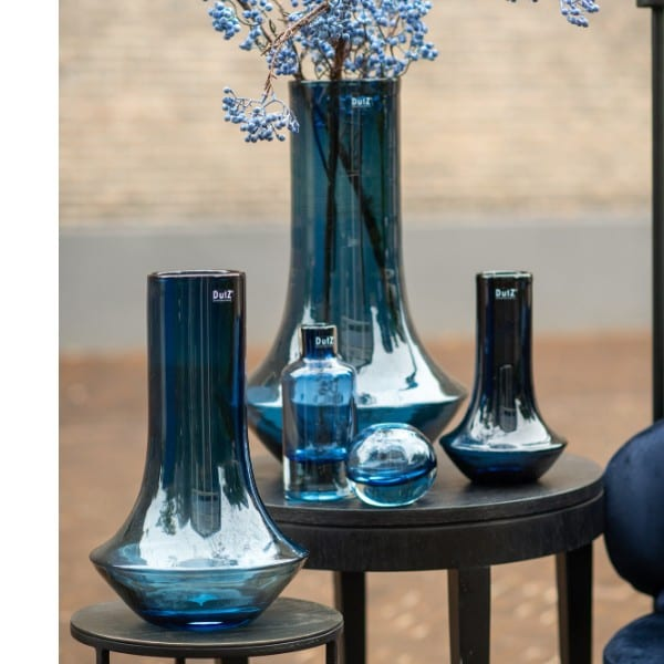 Glas Vase DUTZ MARCO mundgeblasen blau H42 D27 cm