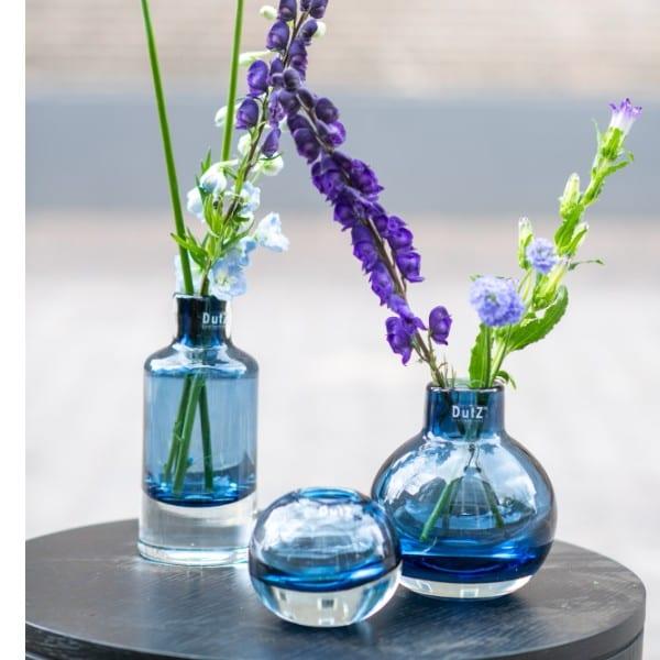 Glas Vase DUTZ CUGAT Blau H23 D10 cm