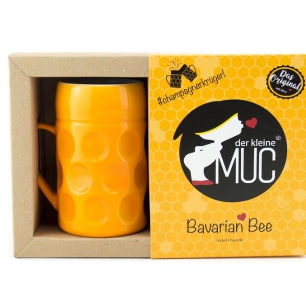 Champagner Krug -Der kleine MUC- Bavarian Bee, Tasse Becher kleiner Maßkrug Kaffee Kakao gelb Selection by Annhild Ellwanger
