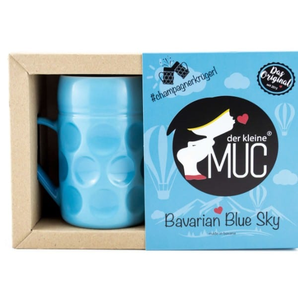 Champagner Krug -Der kleine MUC- Bavarian Blue Sky, Tasse Becher kleiner Maßkrug Kaffee Kakao blau Selection by Annhild Ellwanger