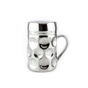 Champagner Krug - Der kleine MUC - Monaco Silver, Tasse Becher silber kleiner Maßkrug Kaffee Kakao Selection by Annhild Ellwanger