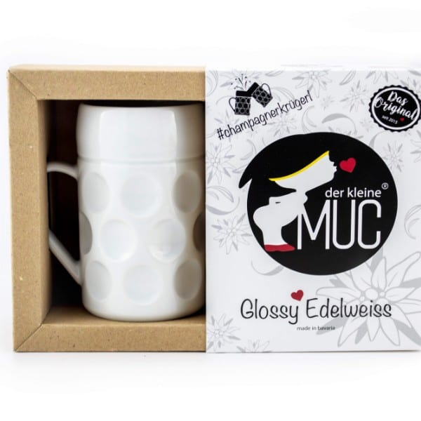 Champagner Krug - Der kleine MUC, Isar Edelweiß, Tasse Becher weiß kleiner Maßkrug Kaffee Kakao Selection by Annhild Ellwanger