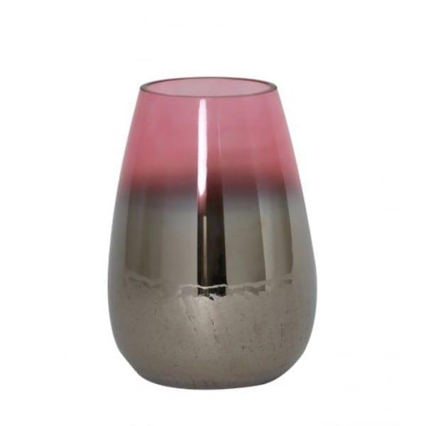 Metallic Glas Bodenvase Izeda Rosa Living Vase D 23x40 cm