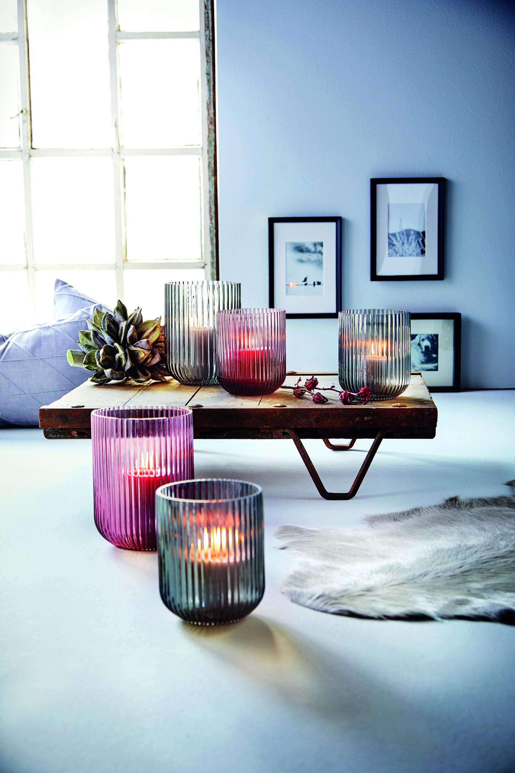 Windlicht Amelie Glas Erika geriffelt 23,5cm groß, Engels Kerzenmanufaktur Kerzen