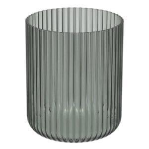 Windlicht Amelie Glas Grau geriffelt 23,5cm groß Kerzen