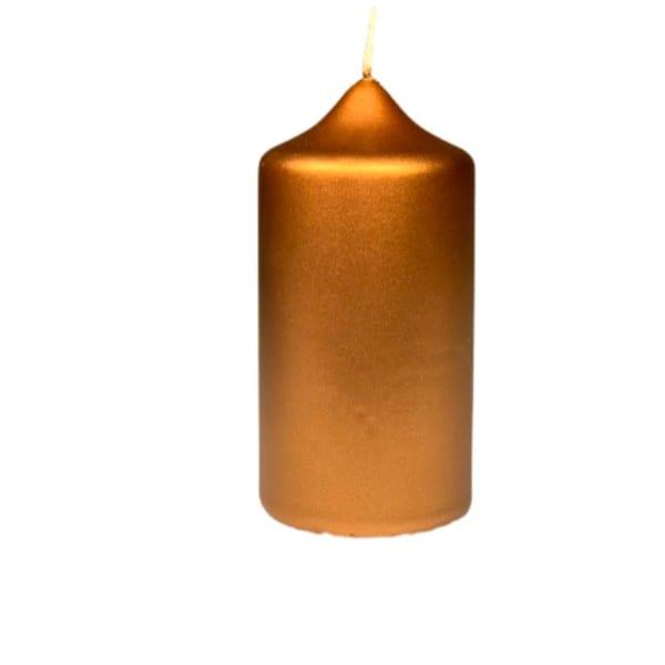 Kerze Gold Stumpenkerze gelackt D6 H12 cm, Engels Kerzenmanufaktur Paraffin Gold, Brennstopp Stumpen Kerzen gegossen Sonderlack 62006012427 Selection by Annhild Ellwanger